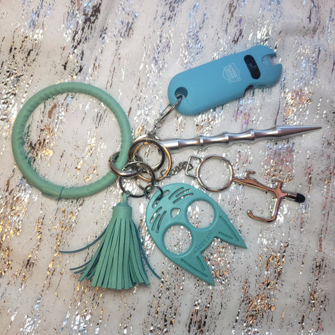 Teal Keychain Bangle Set