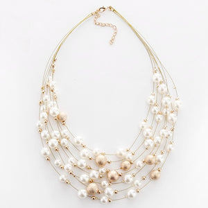 Multi Layer Faux Pearl Necklace