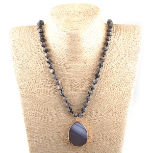 Boho Long Knotted Stone Drop Pendant Necklace