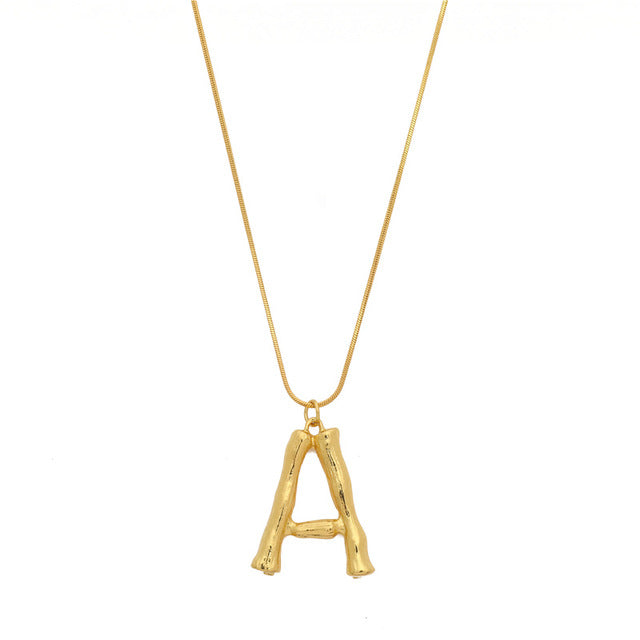 Bold Gold Plated Bamboo Look Initial