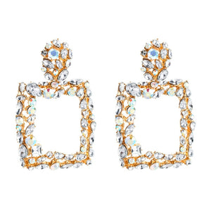 Large Square Rhinestone Earrings
