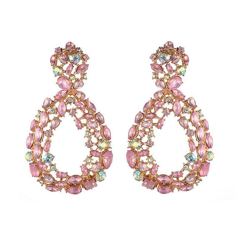Large Tear Drop Rhinestone Earrings