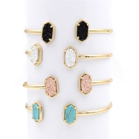 K Scott Inspired Druzy Cuff Bangles - Silver or Gold