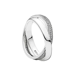Cross Over Double Band Silver Ring