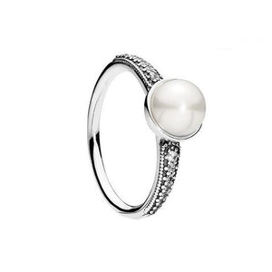Simulated Pearl Solitaire Silver Ring