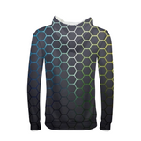 Gray Hexagon Mens Hoodie