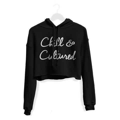 Chill & Cultured Crop Hoodie - Black