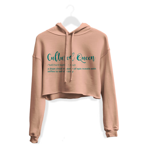 Cultured Queen Crop Hoodie - Peach
