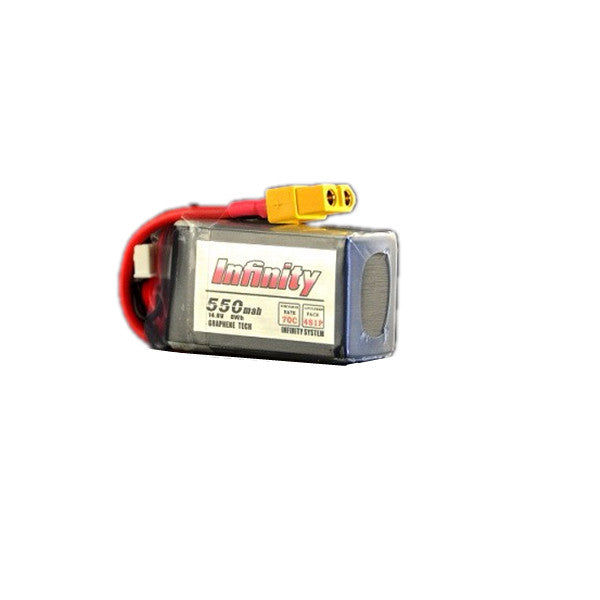 AHTECH Infinity 4S 14.8V 550mAh 70C Lipo Battery with XT60 Plug Connector for RC FPV Racing Drone