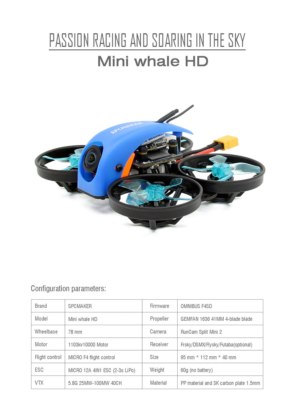 SPC Maker Mini Whale HD 78mm Micro F4 Cinewhoop FPV Racing Drone PNP BNF w/ 25/100mW VTX Runcam Split Mini 2