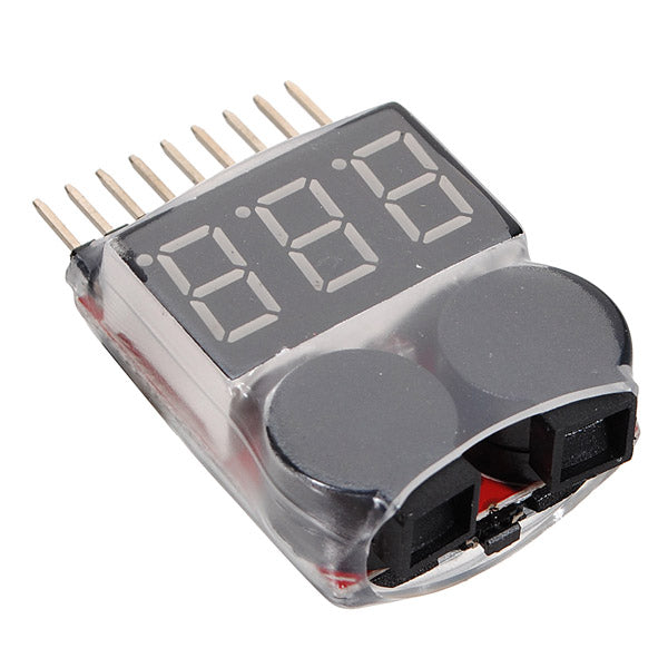 Lipo Battery Voltage Meter Tester Monitor Wit Buzzer Alarm 1S-8S For Drone Racing