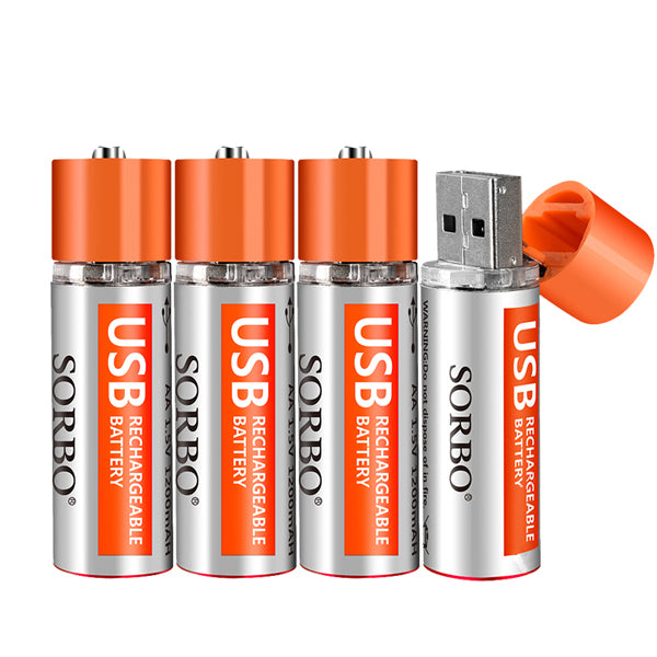 4PCS SORBO 1.5V 1200mAh USB Rechargeable 1 Hour Quick Charging AA Li-po Battery