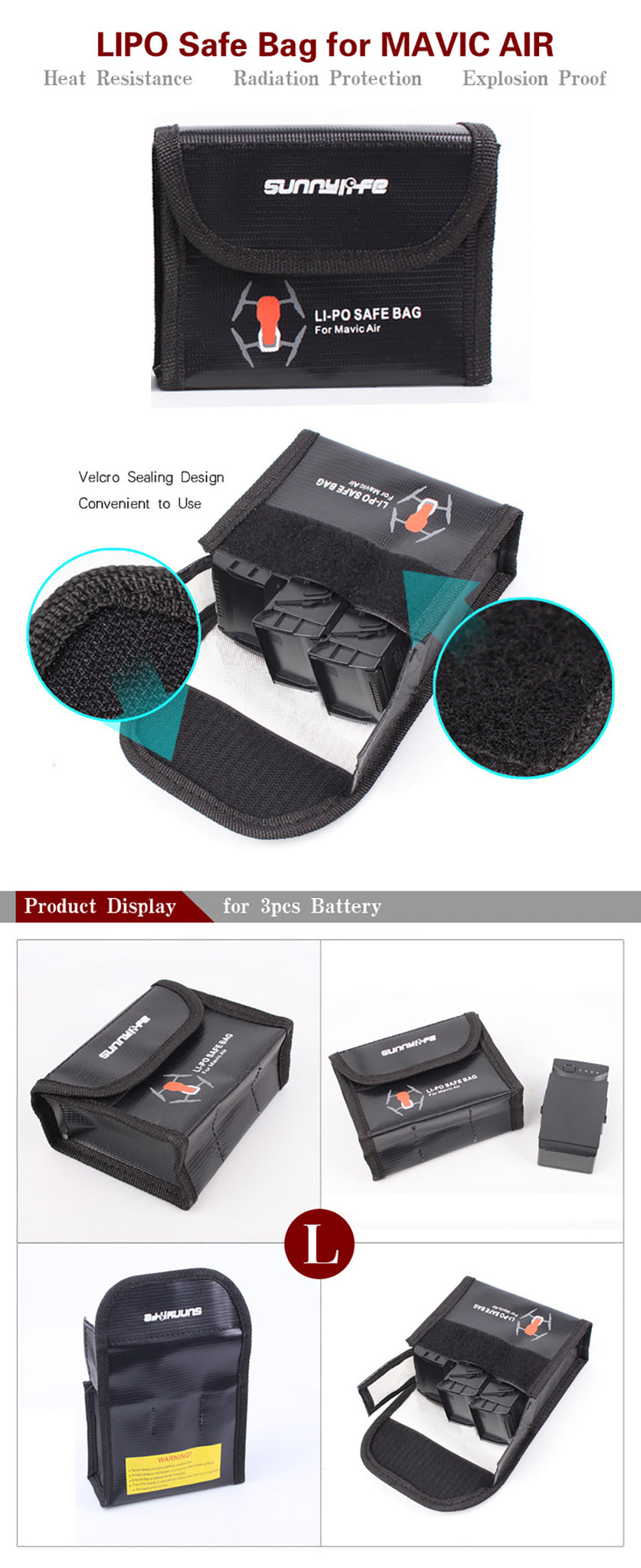 Sunnylife LiPo Battery Explosion-proof Safe Bag Fireproof Protective Storage Box for DJI Mavic Air