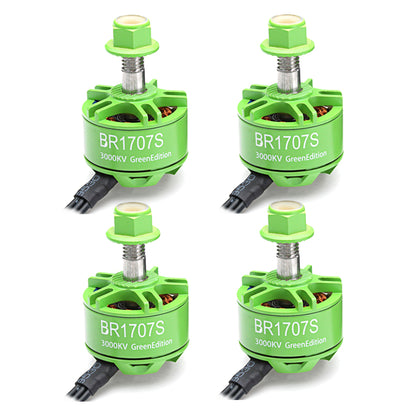 4X Racerstar 1707 BR1707S Green Edition 3000KV 2-3S Brushless Motor For RC Drone FPV Racing Frame - Drone 4 Racing Drone 4 Racing Default Title Drone For Racing