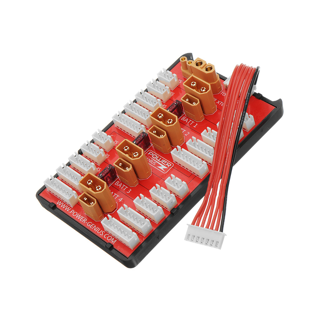 2 IN 1 PG Parallel Charging Board XT30 XT60 Plug Supports 4 Packs 2-8S Lipo Battery