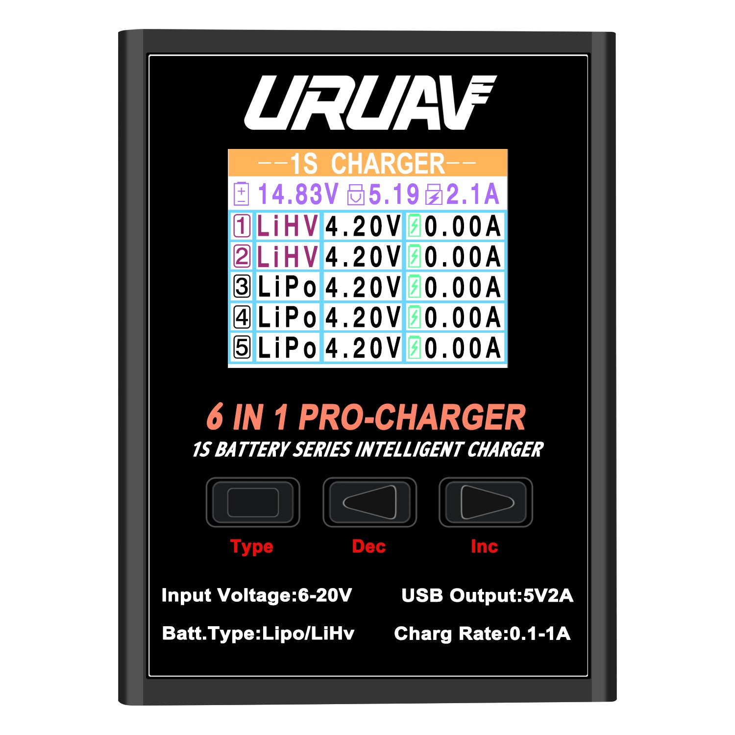 URUAV 6 in 1 PRO 5X4.35W 5X1A Battery Charger for 1S LiPO/LiHv/Li-ion Battery Charger With Micro MX mCPX JST
