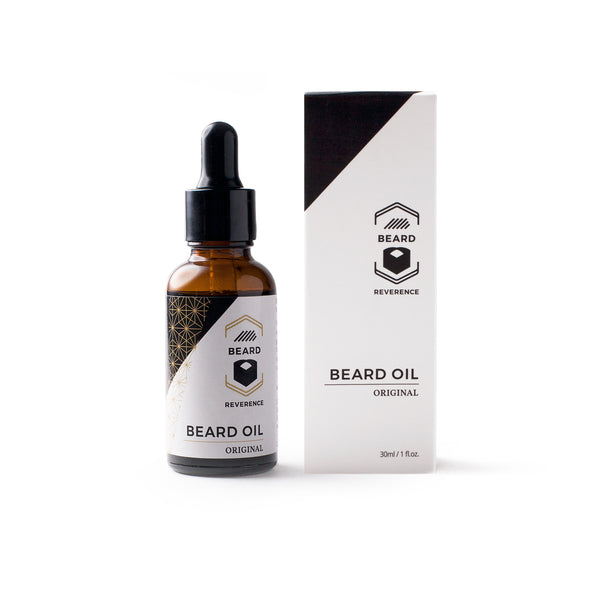 Beard Oil by Beard Reverence in a dropper bottle, next to its box.