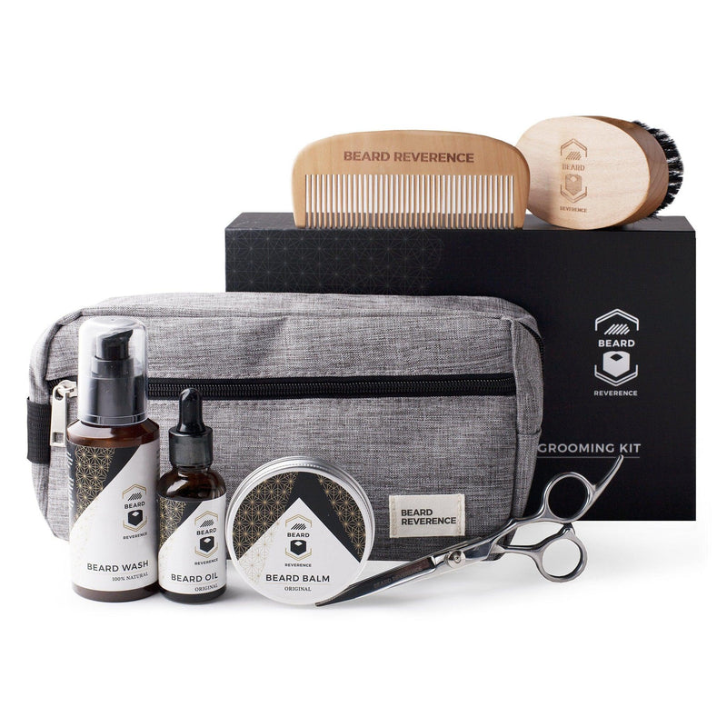 Beard Reverence Ultimate Beard Grooming Kit. Includes: Oil, Balm, Wash, Brush, Comb, Scissors, Bag