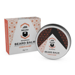 Beard Reverence Citrus Glory Beard Balm and its box.