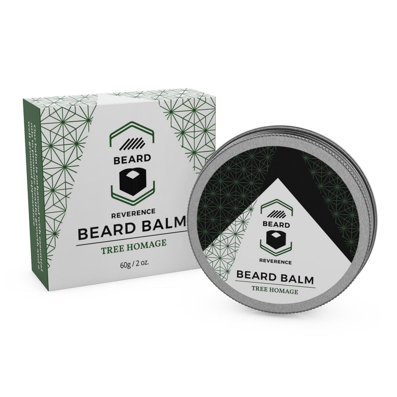 Beard Reverence Tree Homage Beard Balm next to its box.