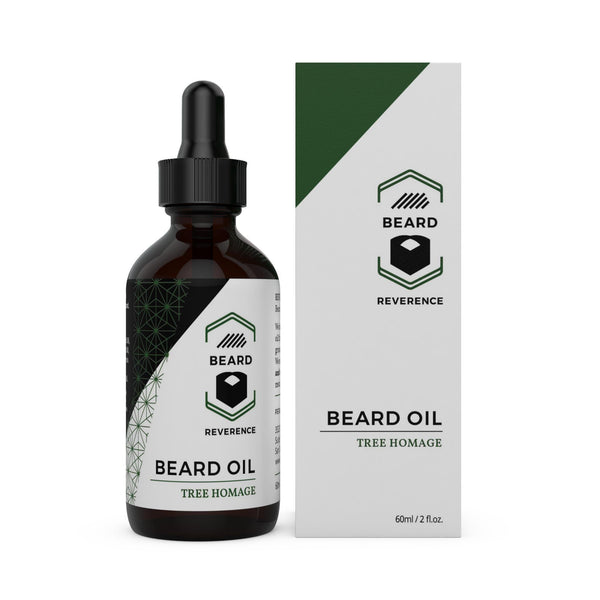 Beard Reverence Tree Homage Beard Oil next to its box.