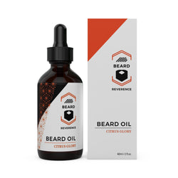 Beard Reverence Citrus Glory Beard Oil next to its box.