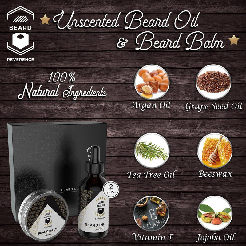 Info graphic that highlights 100% natural ingredients in Beard Oil and Balm by Beard Reverence.