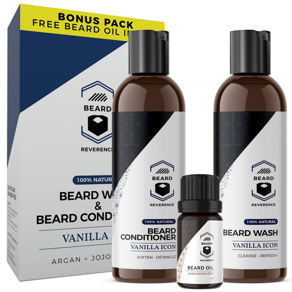 Vanilla Icon Beard Wash & Beard Conditioner Set (with Bonus Sandalwood Idol Beard Oil):