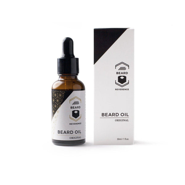 Original beard oil by Beard Reverence.  A dropper bottle sitting next to its box.
