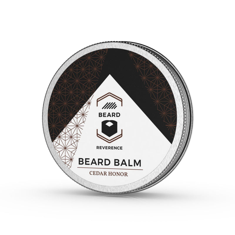 Beard Reverence Cedar Honor Beard Balm side angle.