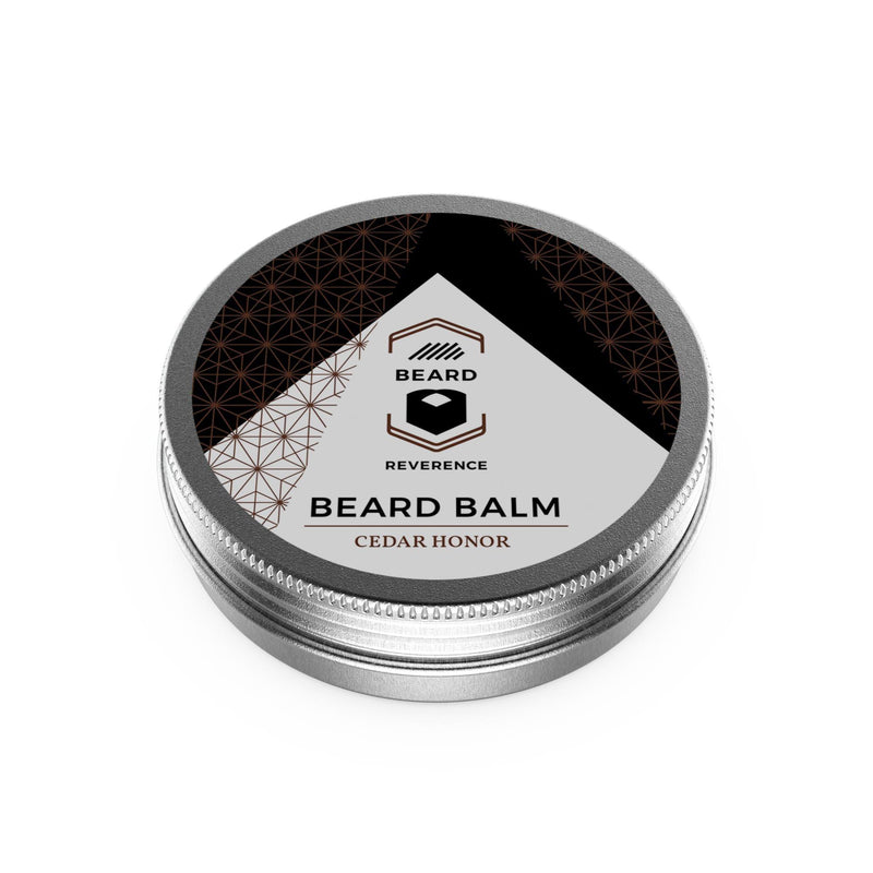 Beard Reverence Cedar Honor Beard Balm face up.