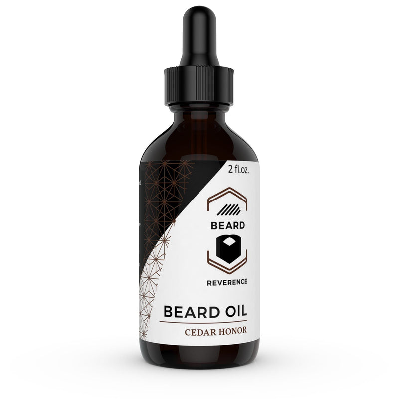 Cedar Honor Beard Oil in a dropper bottle by Beard Reverence