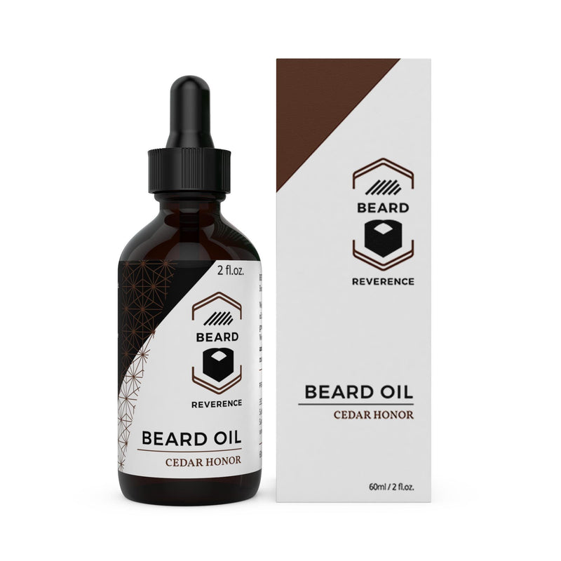 Beard Reverence Cedar Honor Beard Oil next to its box.