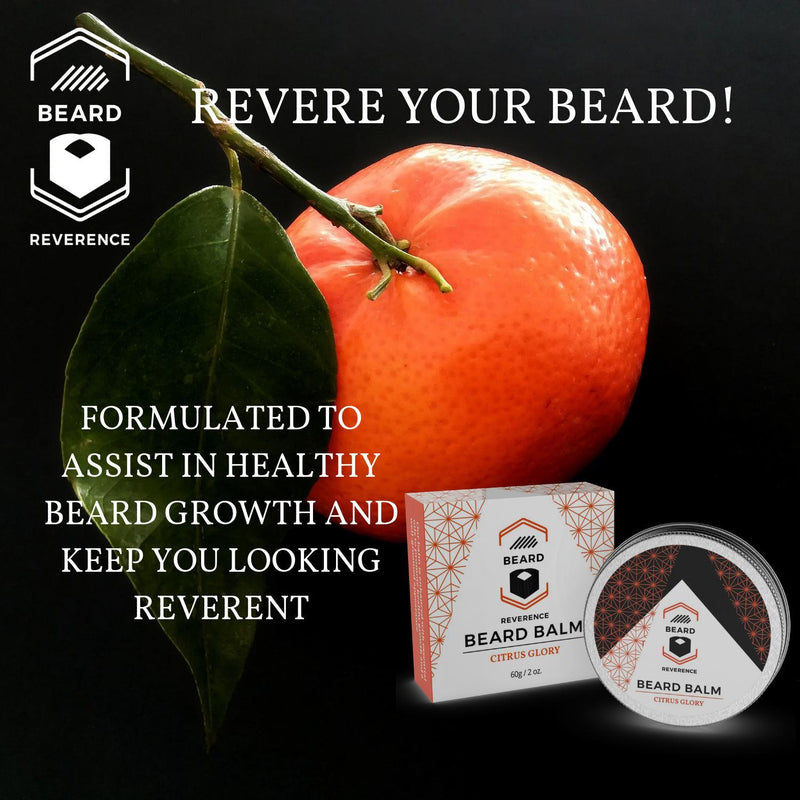 Beard Reverence Citrus Glory Beard Balm with a graphic of citrus in the background and the company tag line.