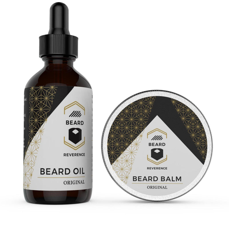 Beard Reverence Original beard oil and beard balm side by side.