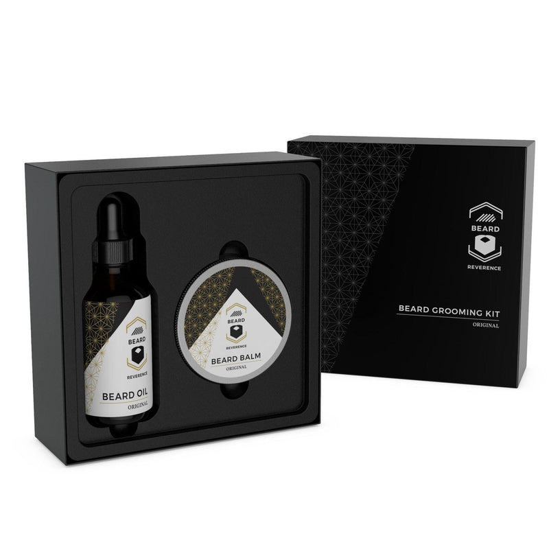 Unscented Beard Oil and Beard Balm Kit by Beard Reverence with gift box open.