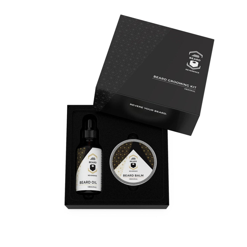 Beard Oil and Beard Balm Kit by Beard Reverence. The Gift box is open to display the the items inside.