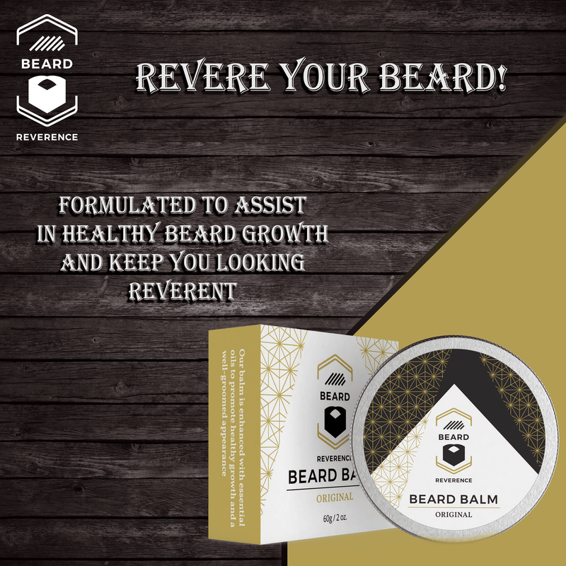 "Beard Reverence Citrus Glory Beard Balm with a graphic of company tag line ""Revere Your Beard."""