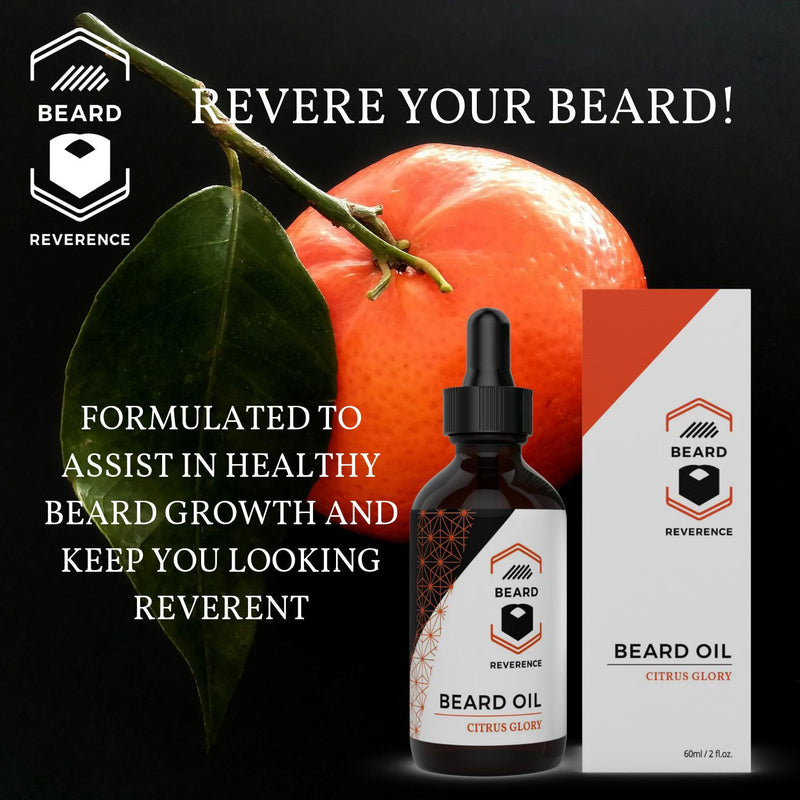 Beard Reverence Citrus Glory Beard Oil with a graphic of citrus in the background and the company tag line.