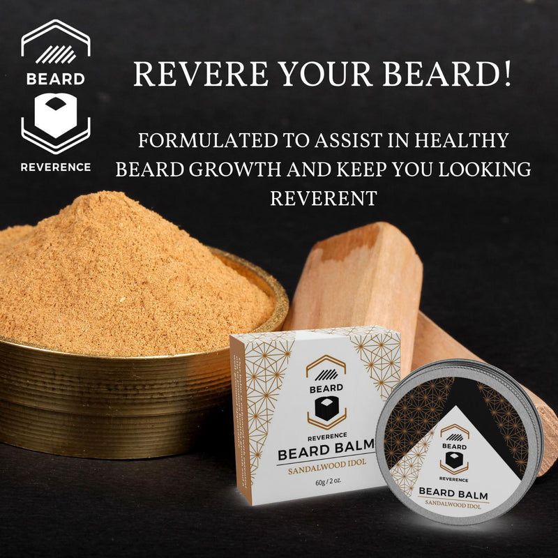 Beard Reverence Sandalwood Idol Beard Balm with a graphic of sandalwood in the background and the company tag line.