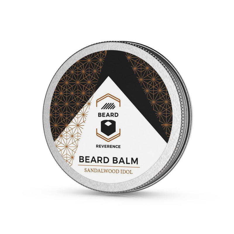 Beard Reverence Sandalwood Idol Beard Balm side angle.