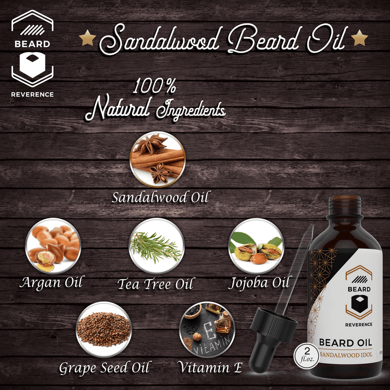 Beard Reverence Sandalwood Idol Beard Oil with graphics of its 100% natural ingredients.