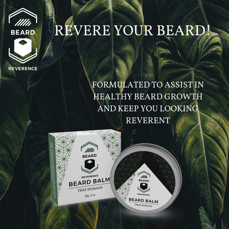 Beard Reverence Tree Homage Beard Balm with a graphic of trees in the background and the company tag line.