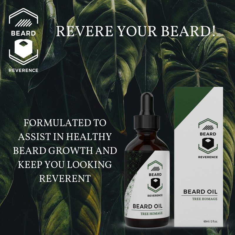 Beard Reverence Tree Homage Beard Oil with a graphic of trees in the background and the company tag line.