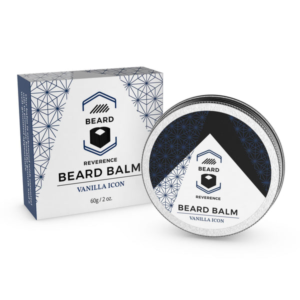 Beard Reverence Vanilla Icon Beard Balm next to its box.