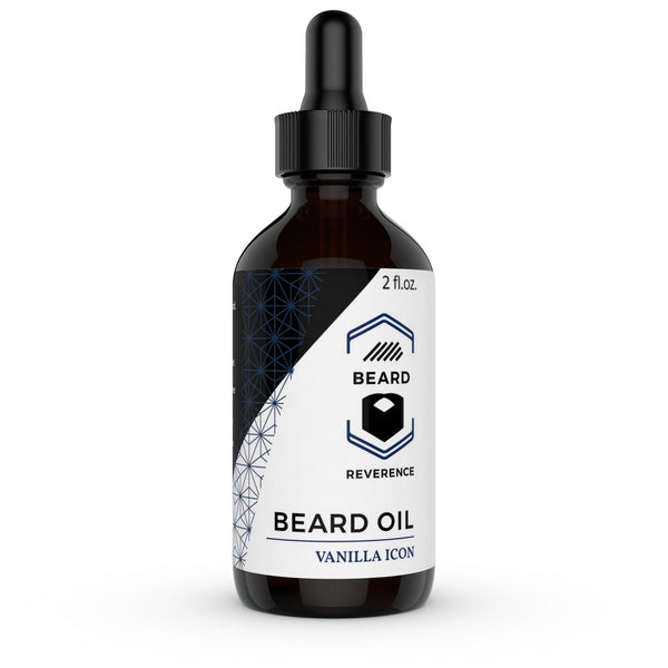 Vanilla Icon Beard Oil in a dropper bottle by Beard Reverence