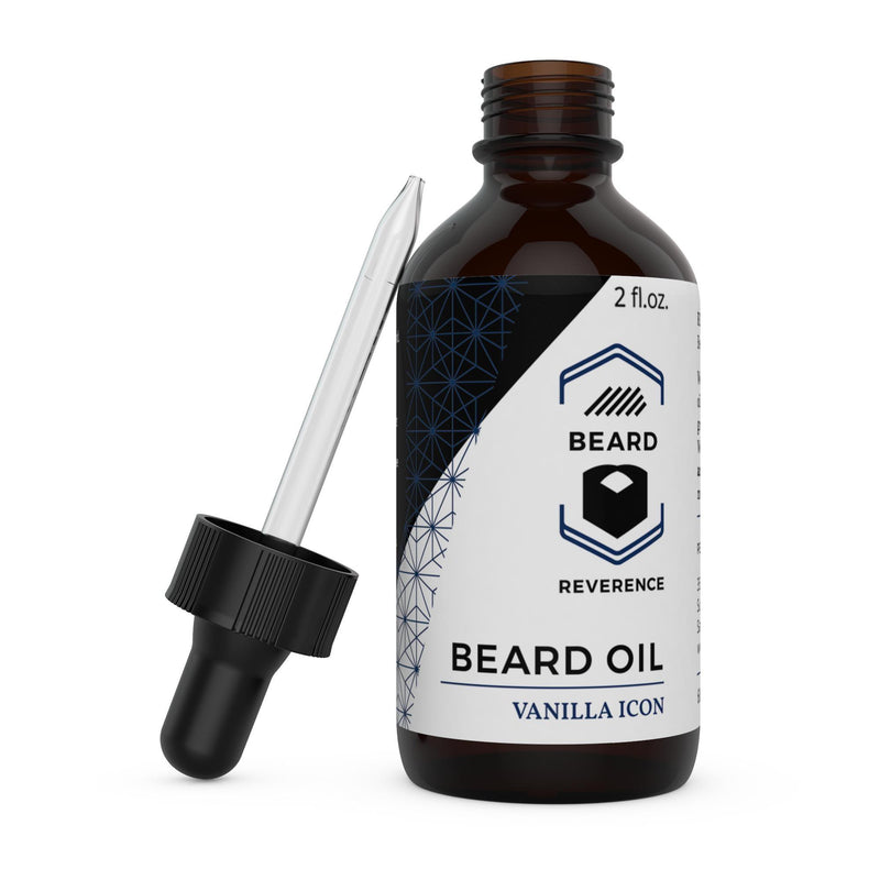 Beard Reverence Vanilla Icon Beard Oil with dropper top laying next to it.
