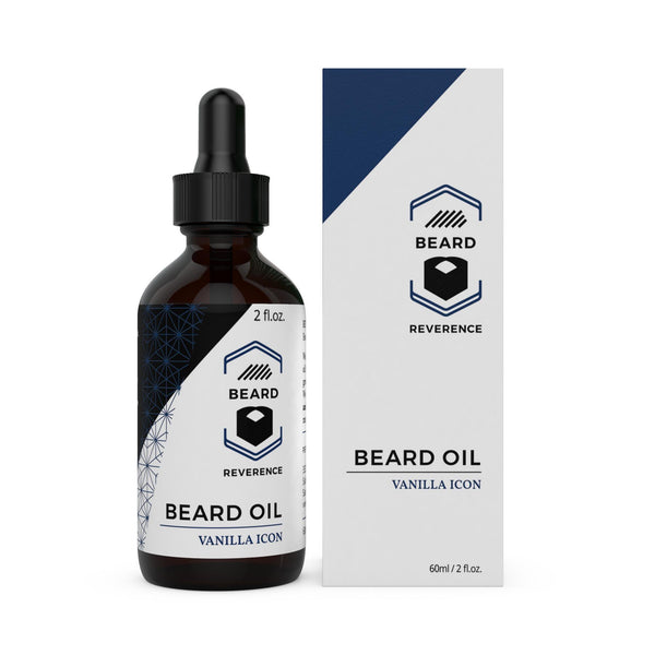 Beard Reverence Vanilla Icon Beard Oil next to its box.