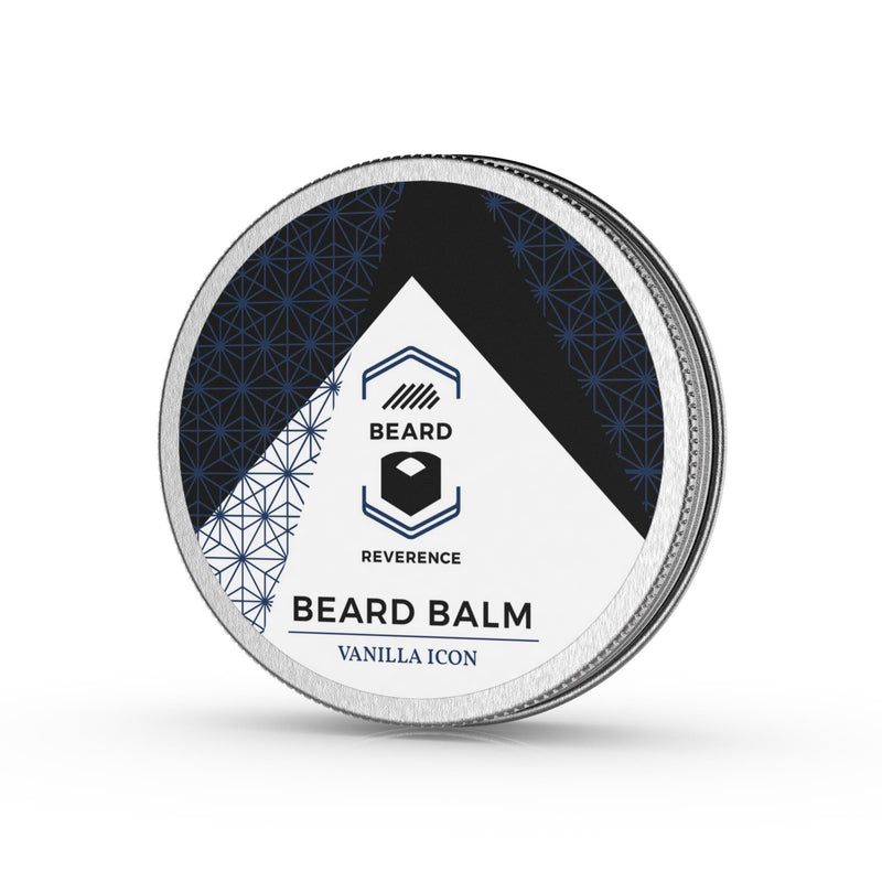 Beard Reverence Vanilla Icon Beard Balm side angle.