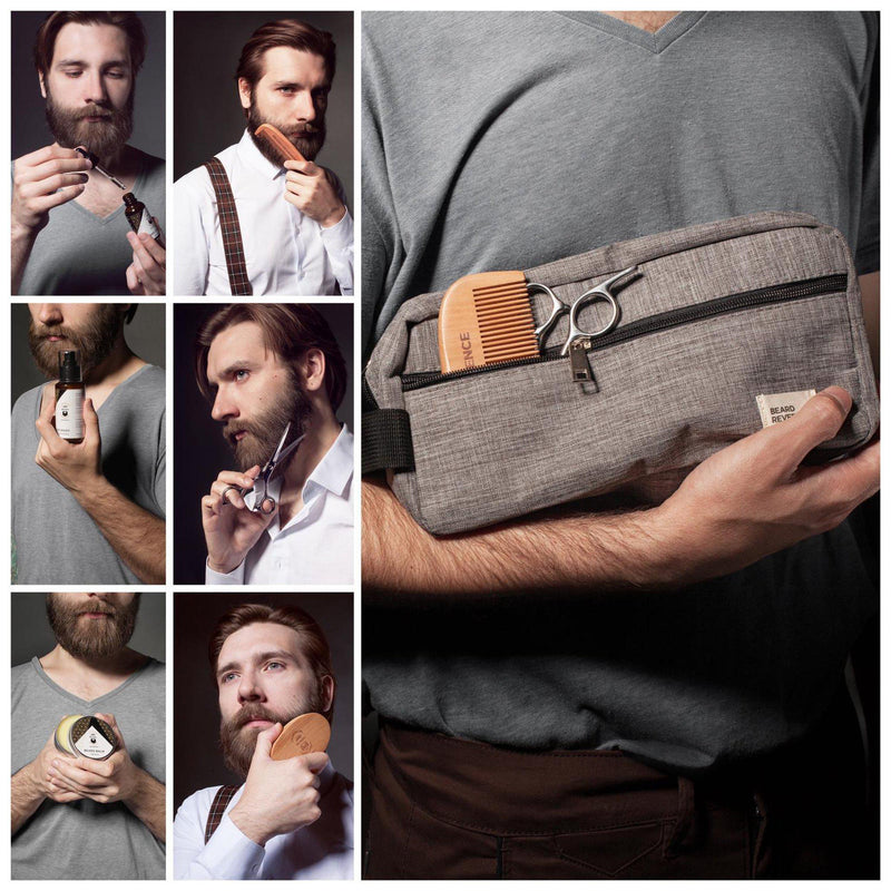 Collage of a bearded man using the products in the Beard Reverence Ultimate Beard Grooming Kit.